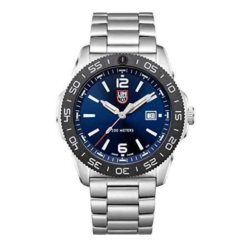Luminox Men's Navy Seal Pacific Diver 3120 Series Silver Stainless Steel Oyster Band Blue Dial Quartz Analog Watch