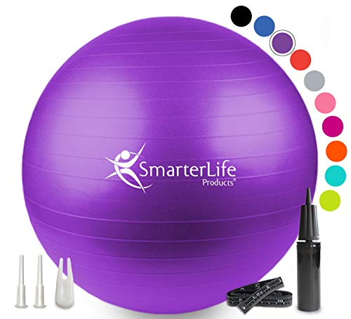 Exercise Ball for Yoga, Balance, Stability from SmarterLife - Fitness, Pilates, Birthing, Therapy, Office Ball Chair and Flexible Seating | Anti...