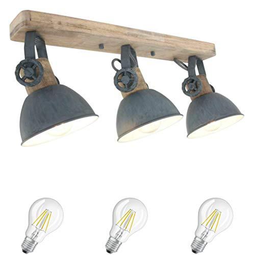 STEINHAUER 2133GR 3flammig Deckenspot Deckenlampe Retro Vintage Industrie Holz Metall Lampe Wandleuchte grau,Edison Retro 7W LED (2133GR incl. LED)