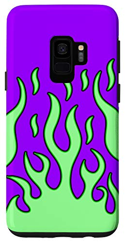 Galaxy S9 Flame Phone Case Aesthetic green flames Alien Print Case