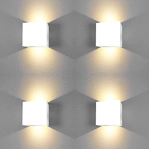 Aplique pared interior led forma cuadrada 6W Luz blanca calida 3000K apliques pared led dormitorio baño Salon pasillos escalera Clase eficiencia energetica A++ (4 Uds)