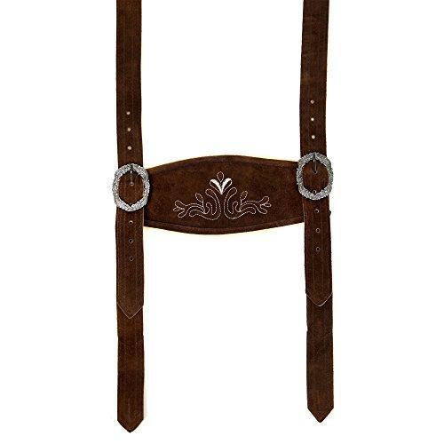Almbock Trachten Hosenträger - klassische Hosenträger in dunkelbraun verziert mit traditioneller Strickerei aus echtem Rindsleder für Herren