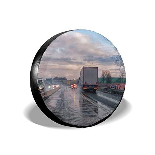 AEMAPE Traffic Site Road Highway Cubierta de neumático de Repuesto, Ajuste Universal para Jeep, Remolque, RV, SUV, camión y Muchos vehículos, diámetro de 16 Pulgadas