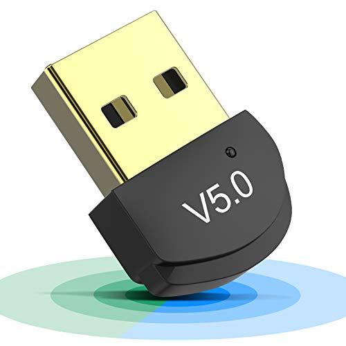 Adaptador de Bluetooth 5.0, USB Adaptador para PC Bluetooth Transmisor y Receptor para Altavoces/Auriculares/Teclados/Ratónes/Gamepad/Impresora Compatible con Windows 10/8.1/8/7/XP/Vista Plug & Play