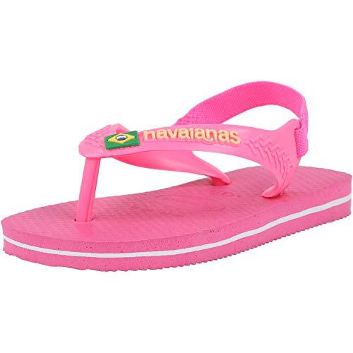 Havaianas Unisex Baby Brasil Logo II Flipflop, Pink Flux, 25/26