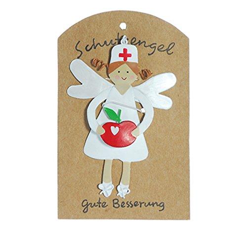 Anhänger Schutzengel Gute Besserung Metall 9cm Blumen Apfel Bonbon Engel Glück, Variante:Apfel