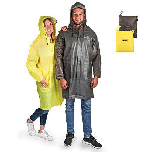 Cedelli®Rainwear Regenponcho für Damen & Herren | L Gelb | 100% wasserdichter Regencape mit Tasche | Für Events & Festivals