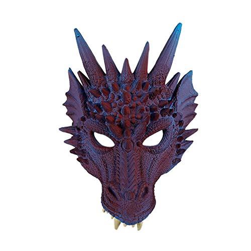 NUOBESTY Party Drachen Maske Drachen Cosplay Kostüm Anzieh Tier Gesicht Maske Abdeckung Drachen Fotografie Requisiten für Maskerade Karneval Leistung (Lila)