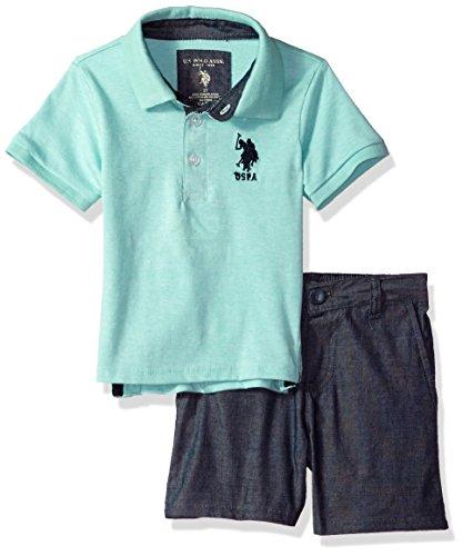 U.S. Polo Assn. Boys' Little Polo Shirt and Short Set, Navy Logo Jade, 5/6