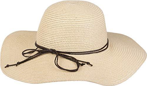 styleBREAKER Damen Strohhut mit schmalem Band und Schleife, Sonnenhut, Schlapphut, Sommerhut, Hut 04025012, Farbe:Beige