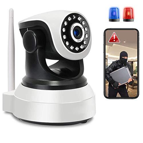 Monitor de bebé Cámara WiFi Interior de vigilancia PTZ Cámara IP de Interior Detección de Movimiento HD 1080P,Alarma APP,Pan355°/Tilt90°,iOS/Android,HD Visión Nocturna,Audio Bidireccional 【Cámara+64G】