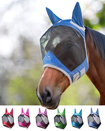 Harrison Howard CareMaster Pro Luminous Fliegenmaske UV-Schutz mit Ohrenschutz Marineblau Warmblut (L)