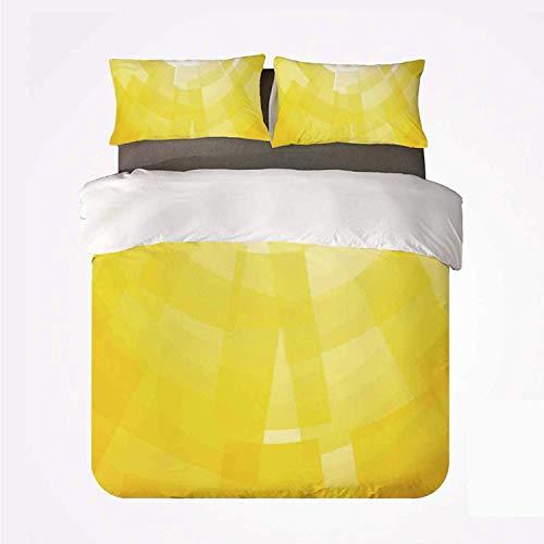 Qoqon Duvet Cover Set Yellow Nice 3 Bedding Set,Modern Circular Mosaic Motifs Digital Pixel Featured in Graphic Design Illustration for livingroom
