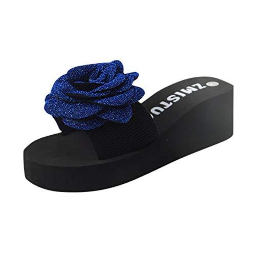 KERULA Damen Hausschuhe Keilabsatz Blumendruck Badeschuhe Home Badelatschen rutschfest Slippers Pantoffeln Gartenschuhe Schlappen Slide Sandal Sandalen