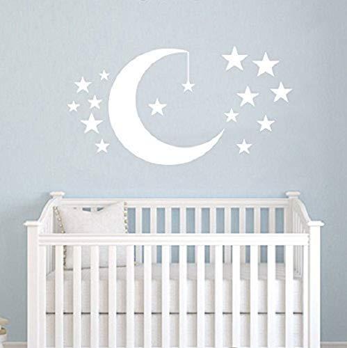 Autocollant mural en vinyle pour chambre d'enfant, chambre à coucher, etc - Convient aussi bien aux garçons qu'aux filles - Motifs de lune et d'étoiles