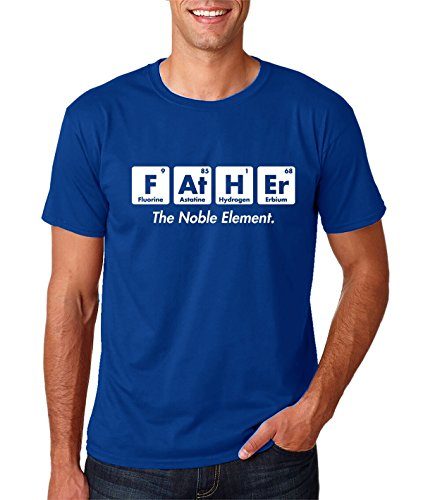 AW Fashions Father The Noble Element - Gift for Dad Funny Chemistry Elements Premium Men's T-Shirt (XX-Large, Royal Blue)