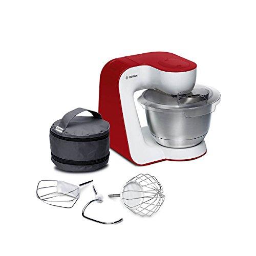 Bosch MUM5 StartLine Küchenmaschine MUM54R00, vielseitig einsetzbar, große Edelstahl-Schüssel (3,9l), Patisserie-Set aus Edelstahl, spülmaschinenfest, 900 W, weiß/rot