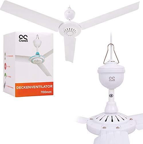 CRONOS Deckenventilator – 275 Umdrehungen/Min – Durchmesser: 70cm - Energiesparend – Sehr Leise – Hoche Effizienz - Weiß