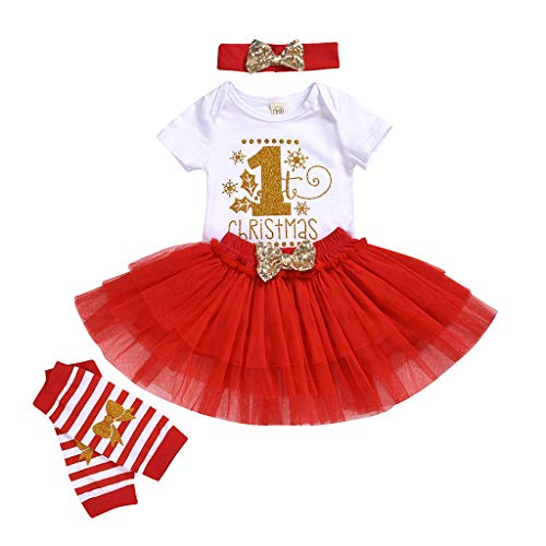 Sayla Baby Mädchen Weihnachten Drucken Strampler + Bogenrock + Beinwärmer + Stirnbänder My First Christmas 4pcs Festlicher Weihnachtskostüm, Party Kleid Tutu Kleidung Set Outfitts