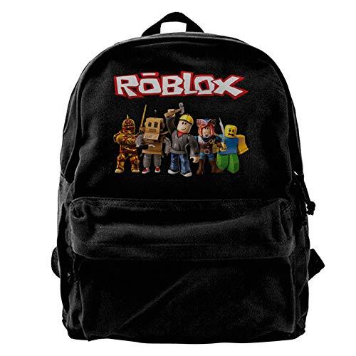 Ro-Blox Canvas Backpack 15.6 Inch Laptop School Backpack Travel Rucksack