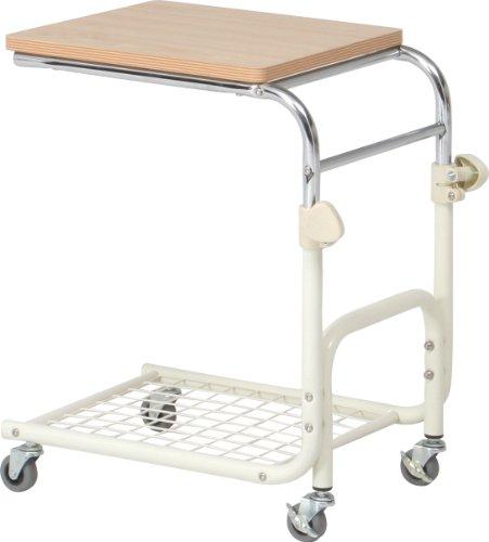 不二貿易 ベッドテーブル 高さ60.5~73cm ホワイト 高さ調節 キャスター付き 88856