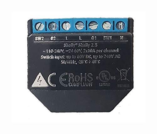 Shelly 2.5PM WLAN-Relais Schalter für die Steuerung von Zwei elektrischen Schaltkreisen bis zu 2,3 kW, kompatibel mit Amazon Echo und Google Home