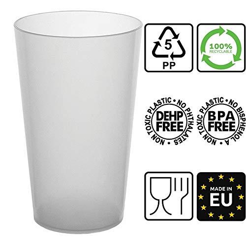 50 Gobelets Réutilisables - en Plastique Polypropylène Rigide 50cl (Givré)
