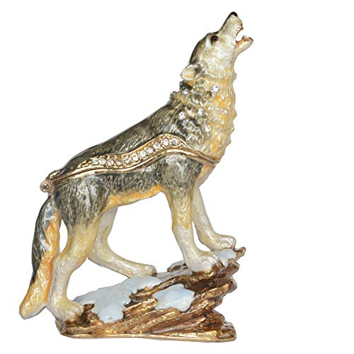 Jiaheyou Howling Wolf Bejeweled Trinket Box Enamel Jewelry Box Keepsake Box Jewelry Container