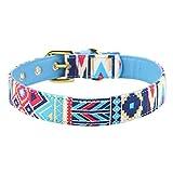 Cuello de Perro Fuerte Ajustable Impreso Lienzo Suave Collares de Perro para Mascotas Suministros(Azul - M)