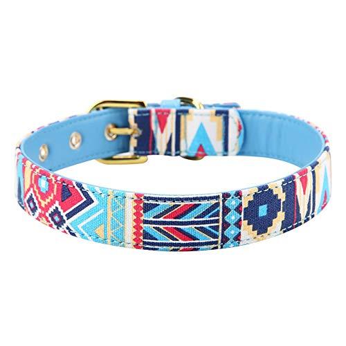 Hondenhalsband, sterk, verstelbaar, van zacht zeildoek, voor honden, M, Blauw