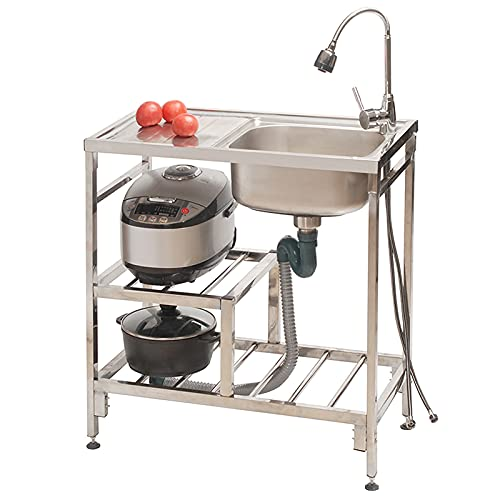 Stainless Steel Single Bowl Commercial Kitchen Sink, Freestanding Utility Sink with Left Drainboards, Sink for Laundry Room, Restaurant, Workshop