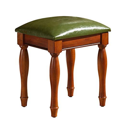 Luxe zachte pianokruk Kaptafel PU Leather pianokruk American guzheng Drum Manicure Stoel Houten Piano Keyboard Kruk Gevoerde stoel (Color : Green, Size : 38x31.8x42cm)