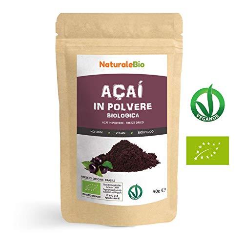 Bacche di Açai Biologiche in Polvere [ Freeze - Dried ] 50 gr. 100% Prodotto in Brasile, Liofilizzato, Crudo ed Estratto dalla Polpa della Bacca di Acai. NaturaleBio