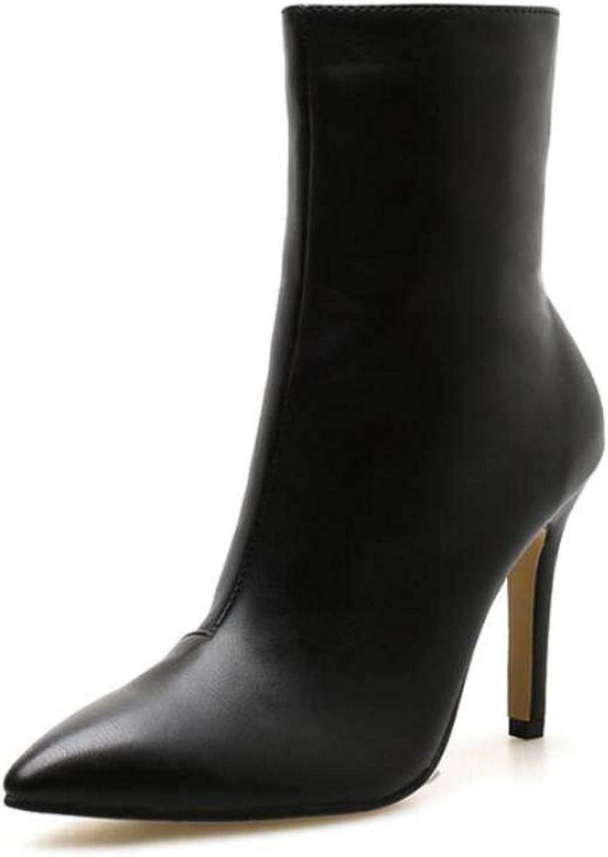 Women Ankle Booties 10Cm Stiletto Pointed Toe Dress Bootie Pure color Zipper Casual Court shoes EU Size 35-40