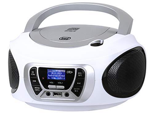 Trevi CMP 510 DAB Stereo Portatile CD Boombox Radio DAB / DAB+ con RDS, USB, AUX-IN, Presa Cuffia, Bianco