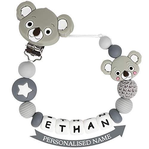 Schnullerkette mit Namen Junge Mädchen Schnuller Clip Personalisierte Schnuller Dummy Clips Silikon Perlen Koala Beißring BPA Frei für Babys (Hell Grau)