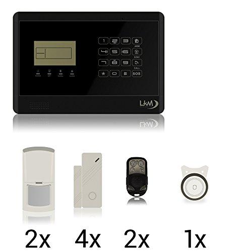 LKM Security WG-YL007M2E+3S+1PIR Kit Antifurto Wireless GSM/PSNT con 4 Sensori, 2 Pir, Nero, S