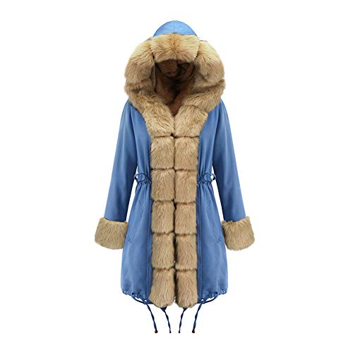 Womens Winter Faux Bont Voering Jas Mode Lange Hooded Parka Warm Ski Jas - voor Dagelijkse Travel Wear (S-2XL Outercoat)