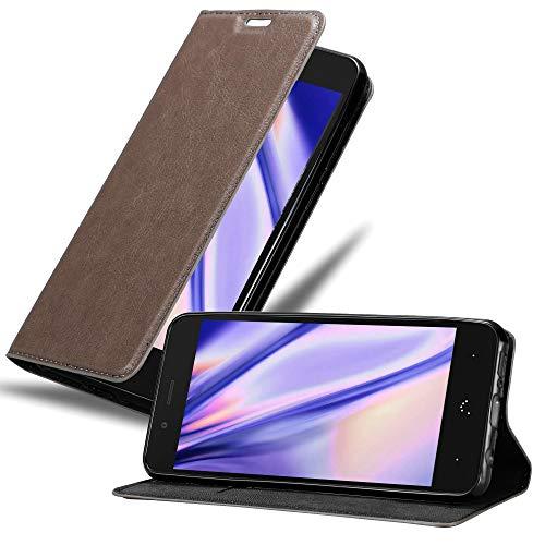 Cadorabo Hülle für BQ Aquaris X5 in Kaffee BRAUN - Handyhülle mit Magnetverschluss, Standfunktion & Kartenfach - Hülle Cover Schutzhülle Etui Tasche Book Klapp Style