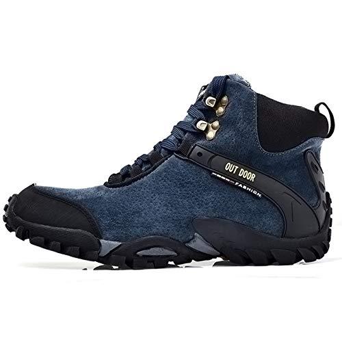 Q-YR Plus Samt Schnee Stiefel Männer Winter Outdoor Sport Gummisohle rutschfeste Verschleißfeste Wanderschuhe Für Kalt Und Warm,Blau,42