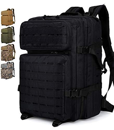 Doshwin Taktischer Rucksack Survival Tactical Militärrucksack Tarnrucksack US Army Molle Assault Pack für Herren Damen (Laserschnitt) / 40L (Schwarz)
