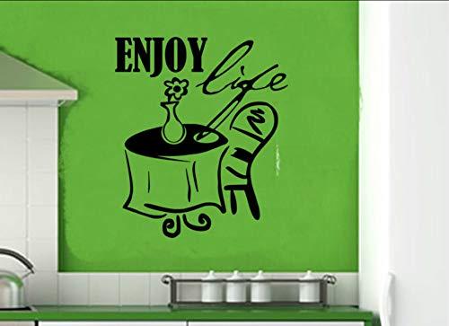 Ponana Genießen Leben Ein Tisch Stuhl Und Blume Wandaufkleber Küche Dekoration Diy Abnehmbare Wasserdichte Hause Wandtattoo 57X66 Cm