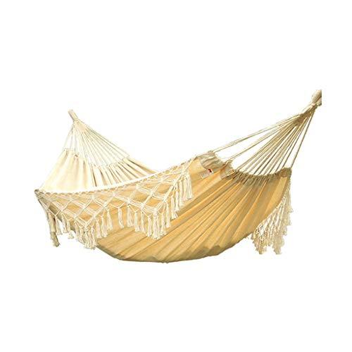 Hamaca de Viaje Al aire libre, hamaca doble, para adultos, hogar, columpio, algodón y lino, agradable para la piel, silla de ocio, herramientas para acampar en la playa Columpio Niños Adultos