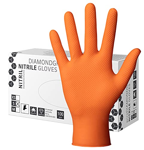 Herrmann Nitril Handschuh DiamantGrip Orange | Gr. XL - 100 Stück | Perfekter GRIP Einweg Montage Schutzhandschuhe puderfrei latexfrei | 3x dicker Diamanttextur Nitril-Handschuhe