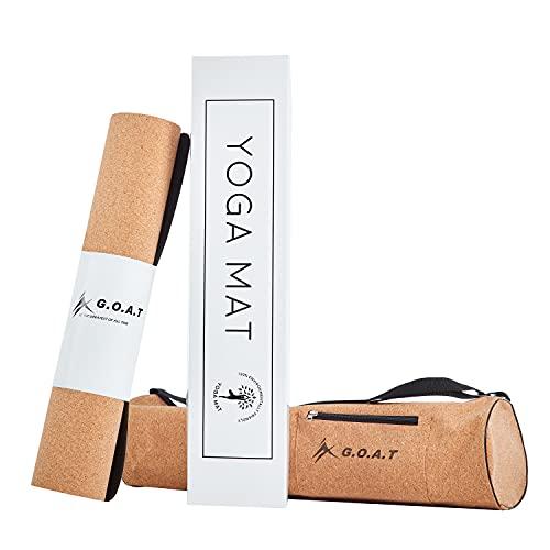 G.O.A.T Yogamatte, Yogamatte Kork und TPE rutschfest | Yoga Matte mit Yoga Tasche | Sportmatte (183cm x 61 cm) umweltfreundlich, schadstofffrei