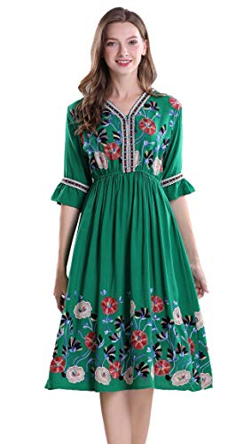 Shineflow, abito da cocktail da donna, a maniche corte, con ricami messicani, con motivo floreale, a pieghe, Verde, S