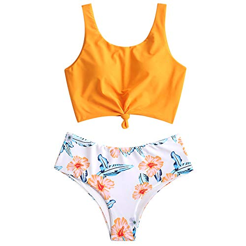 ZAFUL Women's Knotted Front Tankini Set High Waisted Bikini Scoop Neck Swimsuit Two Pieces Bathing Suit Multi-C M