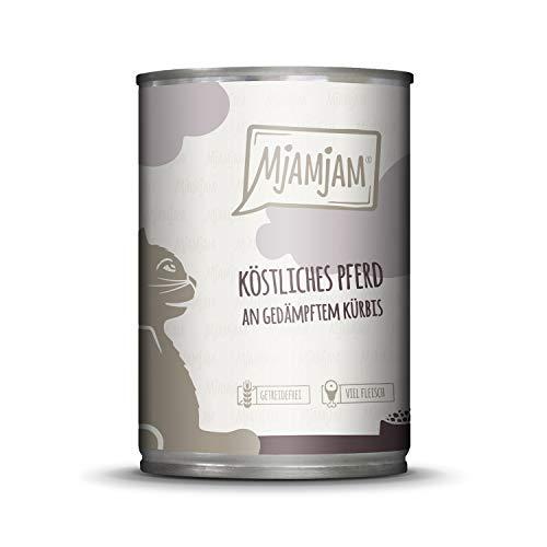 MjAMjAM - Premium Nassfutter für Katzen - köstliches Pferd an gedämpftem Kürbis, 1er Pack (1 x 400 g), getreidefrei mit extra viel Fleisch