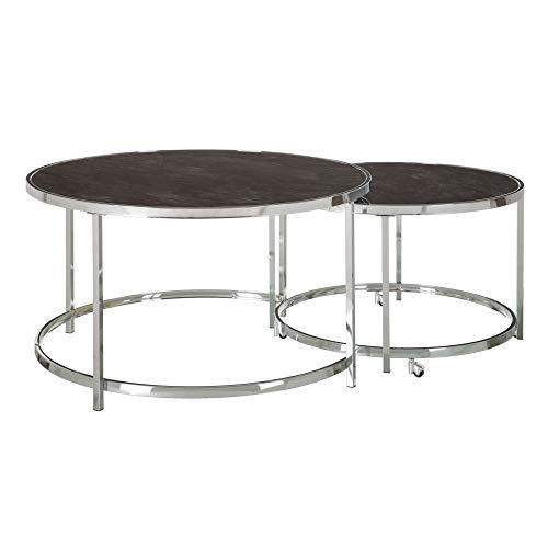 Set de 2 mesas de Centro Nido de Cristal Templado y Acero Inoxidable s Negras y Plateadas - LOLAhome
