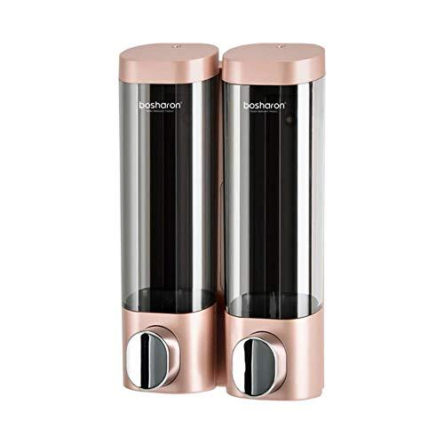 Zeepdispenser voor wandmontage 300 ml Badkameraccessoires Plastic wasmiddel Dispensers Dubbele handkeuken Zeepfles, Rosé goud dubbel